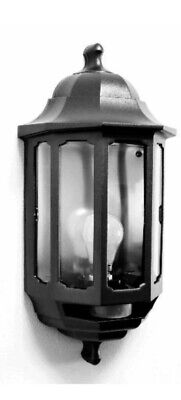 Black Half Lantern - Outside Wall Light -  60W GLS BC Or 9W CFL BC Lamp - ASD • 12£