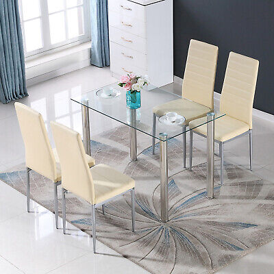 $179.99 • Buy Glass Metal 5 Piece Dining Table Furniture Sets 4 Leather Chairs Breakfast Nook