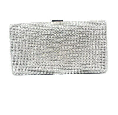 £15 • Buy Shimmering Silver Diamond Crystal Evening Bag Clutch Purse Party Prom Wedding