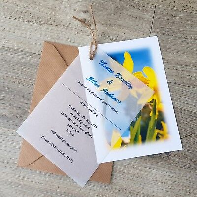 £5.95 • Buy Personalised Welsh Daffodil Vellum Wedding Invitations With Envelopes And Twine