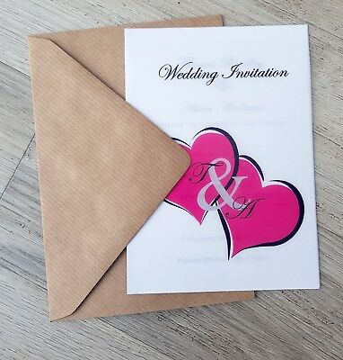 £1.27 • Buy Personalised Love Hearts Vellum Wedding Invitations With Envelopes