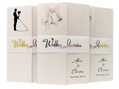£1.70 • Buy Pearlescent Gatefold Wedding Invitations With Metallic Vellum Bands-personalised