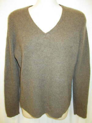 $17.95 • Buy Daniel Bishop 100% Cashmere Brown Ribbed Knit V-neck Sweater L May Fit PM