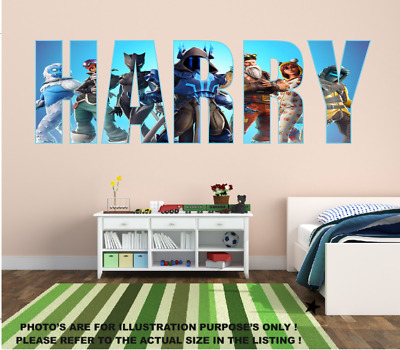 Personalised Name Fortnite Style Stickers Decal Vinyl Wall Art Gaming - Any Name • 13.99£