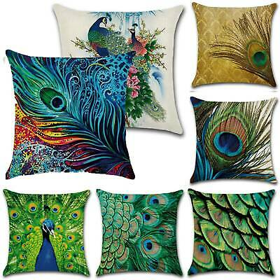 Prints Peacock Pillow Case Bedroom Room Sofa Decor Cover Trow Cusion Sofa Covers • 5.50£