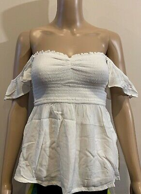 AU23.95 • Buy Abercrombie & Fitch Hollister Womens Ivory Off Shoulder Ruffle Top Size XS NWT