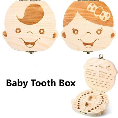 AU12.89 • Buy Baby Tooth Box Cute Boy Girl Teeth Keepsakes Holder Wooden Storage Box - AU