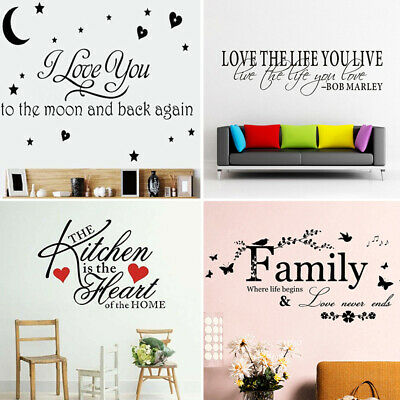 Removable Word Art Vinyl Wall Sticker Quote Mural Home Kitchen Decal Room Decor • 2.39£