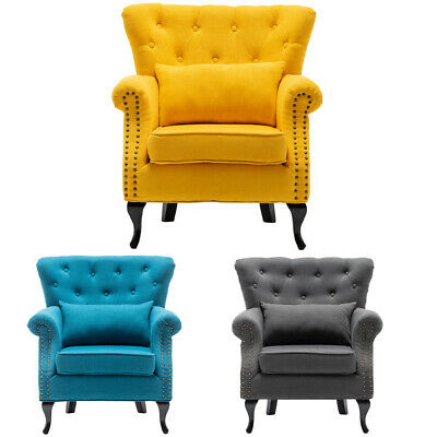 Upholstered Wing Back Chesterfield Sofa Velvet Button Tub Chair Scallop Armchair • 169.95£
