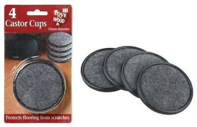 4 PACK PADDED CASTOR CUPS PROTECT FLOOR FROM SCRATCHES 70 Mm UK • 2.45£