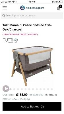 Tutti Bambini CoZee Bedside Crib Next To Me Charcoal Grey (Used) Travel Cot • 95£