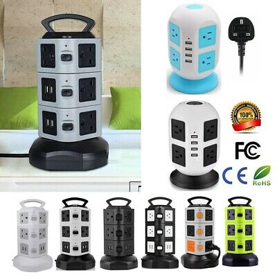 10 Way Switched Surge Protected Extension Lead UK Plug Tower Multi Socket 4 USB • 20.89£