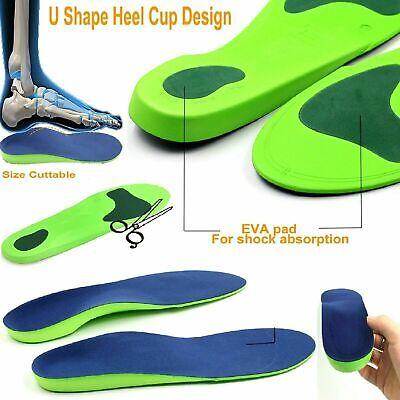 Heel Pain Orthotic Insoles For Arch Support Plantar Fasciitis Flat Feet Back UK • 4.69£