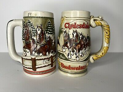 $ CDN43.94 • Buy Pair Of Budweiser Beer Steins Ceremarte 1980s Clydesdales Handcrafted Christmas