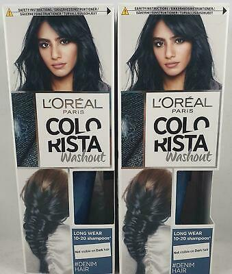2 X L'Oreal Paris Colorista Washout Denim Blue Semi-Permanent Hair Dye 80ml • 9.95£