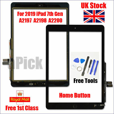 For IPad 2019 IPad 7 10.2  A2197 A2198 A2200 Black Digitizer Screen Replacement • 21.83£