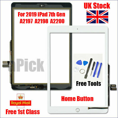 For IPad 2019 IPad 7 10.2  A2197 A2198 A2200 White Digitizer Screen Replacement • 22.83£
