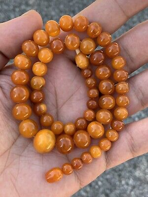 Nice Antique Natural Baltic Egg Yolk Butterscotch Amber Round Beaded Necklace • 347.16£