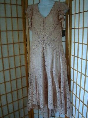 Nwt Women Just Taylor Blush Floral Lace Fit & Flare High-low Midi Dress Size 6 • 35.02£