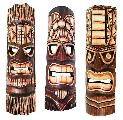 £18.97 • Buy TIKI Mask Wooden Wall Plaque 50cm Hand Carved & Painted SURFER/ MAORI STYLE New