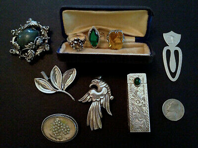 $ CDN76.27 • Buy JEWELRY + LOT Vintage Antique STERLING Costume SIGNED Pin Lipstick Holder RING +