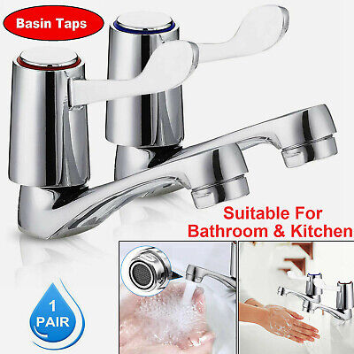 £10.45 • Buy PAIR LEVER BASIN SINK TAPS 1/2  HOT COLD SET PILLAR DISABLED TURN CHROME 2x