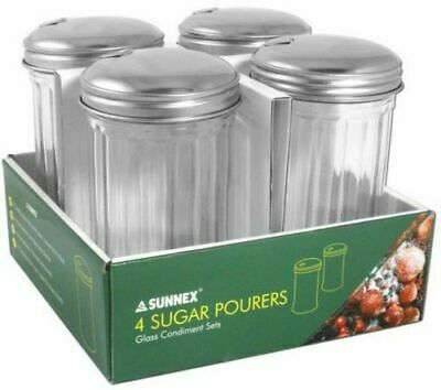 4 X SUGAR DISPENSER FLUTED GLASS POUR SHAKER STAINLESS STEEL LID SIDE FLAP 300ml • 11.99£