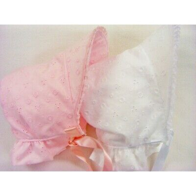 Baby Girl Romany Broiderie Anglaise Pink/White Peak Neck Lace Trim Summer Hat • 5.95£