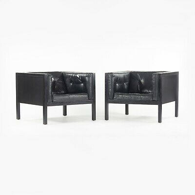 AU5720.46 • Buy Pair 1960's George Nelson For Herman Miller Cube Lounge Chairs In Black Leather