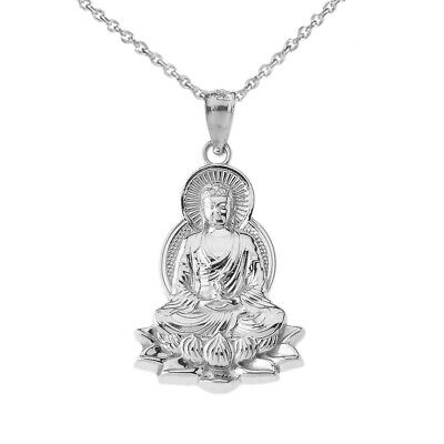 $ CDN57.97 • Buy 925 Streling Silver Buddha In Lotus Flower Pendant Necklace