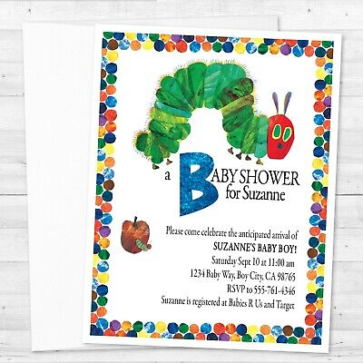 8 The Very Hungry Caterpillar Baby Shower Personalized Custom Invitations • 5.92£