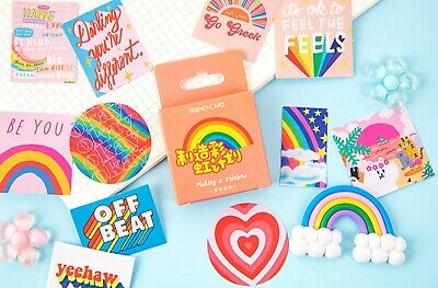 46 COLOUR STICKERS Rainbow Happy Sayings Scrapbook Card Diary Craft Decoration • 2.79£
