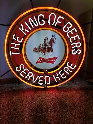 $ CDN616.73 • Buy Budweiser Beer Clydesdale Horses Neon Light Up Sign Anheuser Busch King Of Beers
