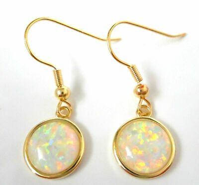 GORGEOUS  White   FIRE OPAL  GOLD PLATED    HOOK  EARRINGS • 21.99£
