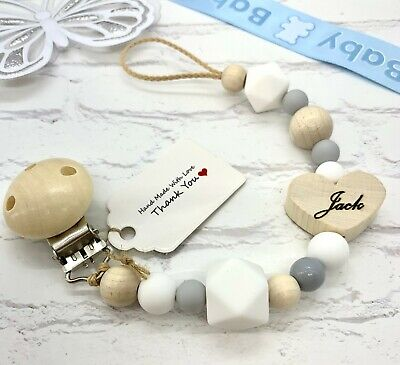 £8.75 • Buy Personalised ENGRAVED Baby Dummy Clip Pacifier Chain Wooden Silicone Shower Gift