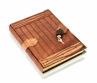 Genuine Leather-bound  4  By 5  Refillable Lockable Journal Notebook & Padlock • 10.99£