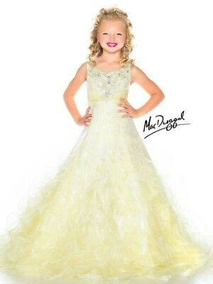 $225 • Buy NWT MAC DUGGAL SUGAR 64836S Girls Pageant Gown Dress Lemon Yellow Crystals 6/8