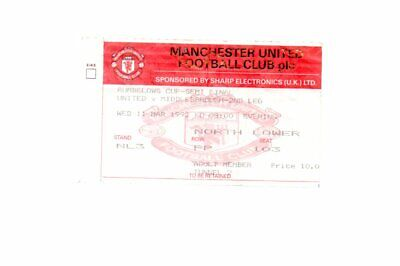Used Ticket - Manchester United V Middlesbrough 11.3.1992 LC Semi Final • 2.50£