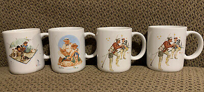 $ CDN18.66 • Buy Set Of 4 Vintage 1987 Norman Rockwell Museum Collection Coffee Cups Mugs