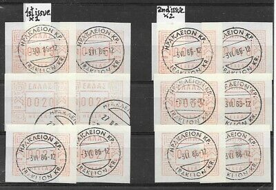 GREECE CRETE 1986 Stamps(12) In FRAMA Sets, 1st & 2nd Issues, X 2 Each, C.t.o. • 8£