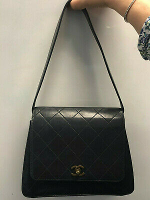 AU1900 • Buy Vintage Chanel Bag 5 Series Black Lambskin Leather