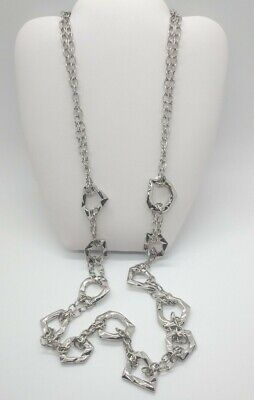 $ CDN8.15 • Buy Estate Stunning Lia Sophia Long Silver Statement Asymmetrical Necklace 32