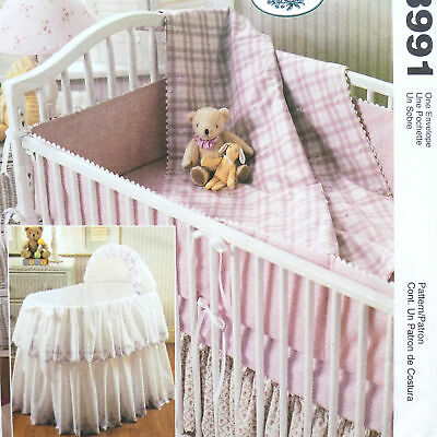 $7.99 • Buy Sewing Pattern Bassinet Skirt Cover Baby Crib Comforter Dust Ruffle Uncut M3991
