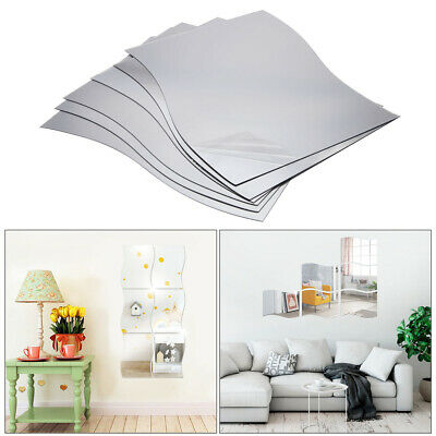 6x Large Mirror Tiles Wavy Mosaic Wall Stickers Self-Adhesive Stick On Art Decal • 11.99£