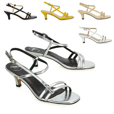 Womens Kitten Heel Strappy Sandals Ladies Slingback Open Toe Party Shoes Size • 19.99£