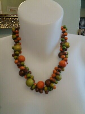 Chunky Wooden Bead Necklace Boho Natural • 10£