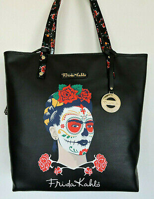 $71.99 • Buy FRIDA KAHLO Painted Face Black Large Tote Shopping Bag W Coin Purse