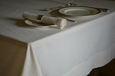 TABLECLOTH, Linen Cotton Plain Dyed Soft White, Square, Oblong, Oval And Round • 14.99£