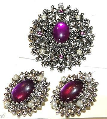 $37.95 • Buy Vintage Sarah Coventry Jewelry CATHERINE BROOCH CLIP-ON EARRINGS SET
