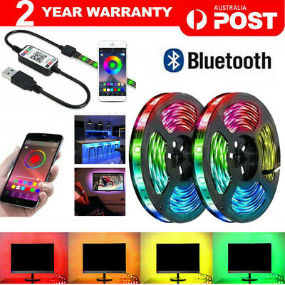 AU16.80 • Buy RGB LED Strip Lights IP65 Waterproof 5050 5M 300 LEDs 12V USB Bluetooth
